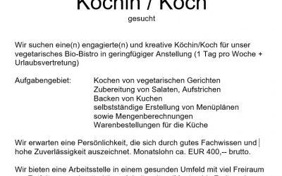 Köchin / Koch gesucht – Teilzeit/geringfügig